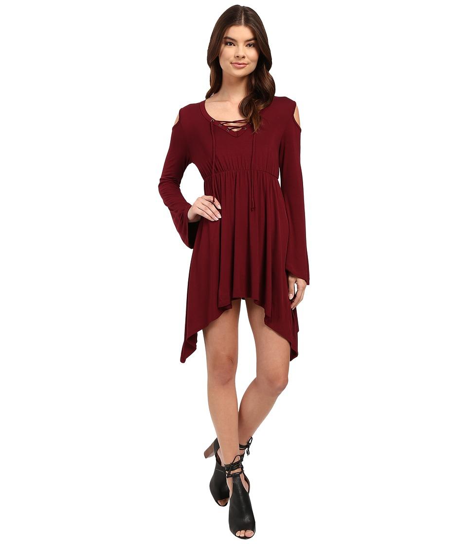 Culture Phit - Junia Front Tie Cold Shoulder Top (Maroon) Women's Clothing