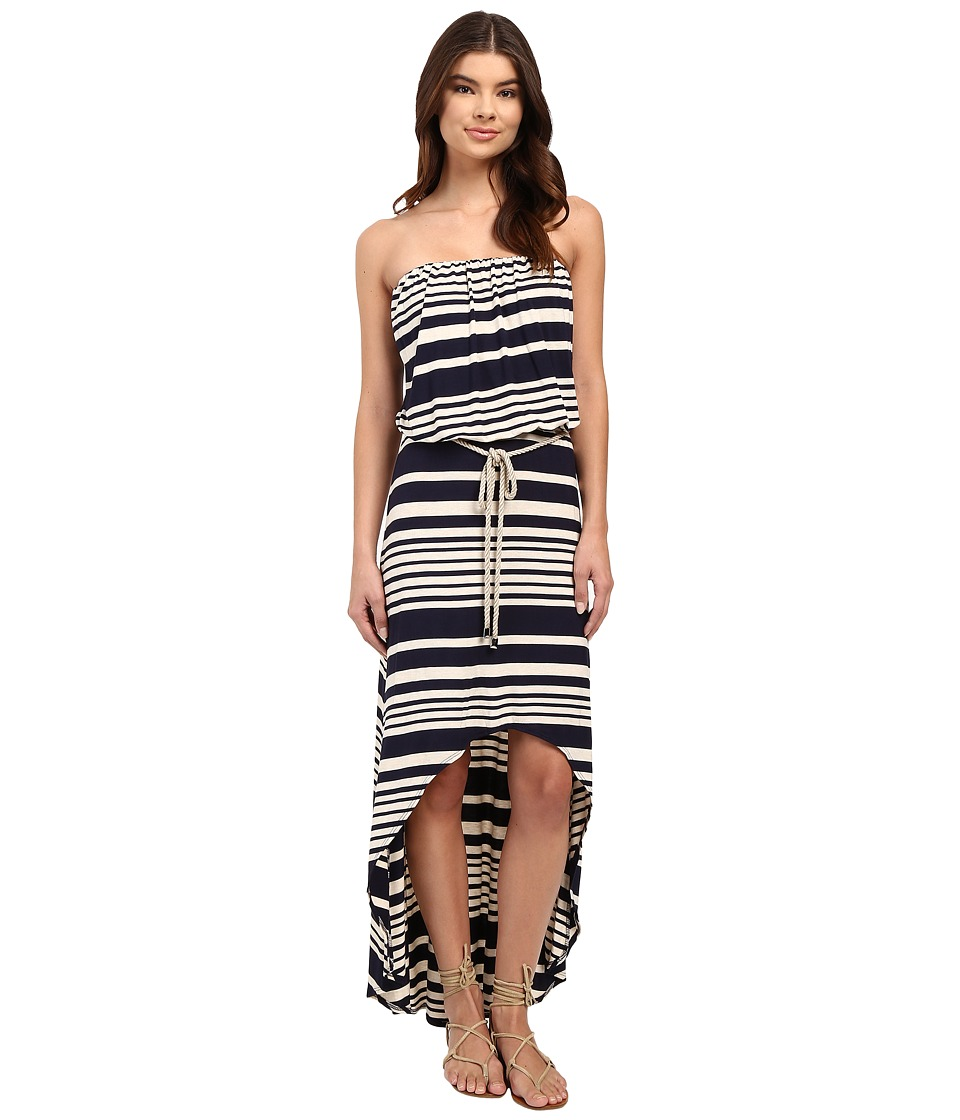 Culture Phit Annia High-Low Dress with Rope Belt (Navy/Oatmeal) Women
