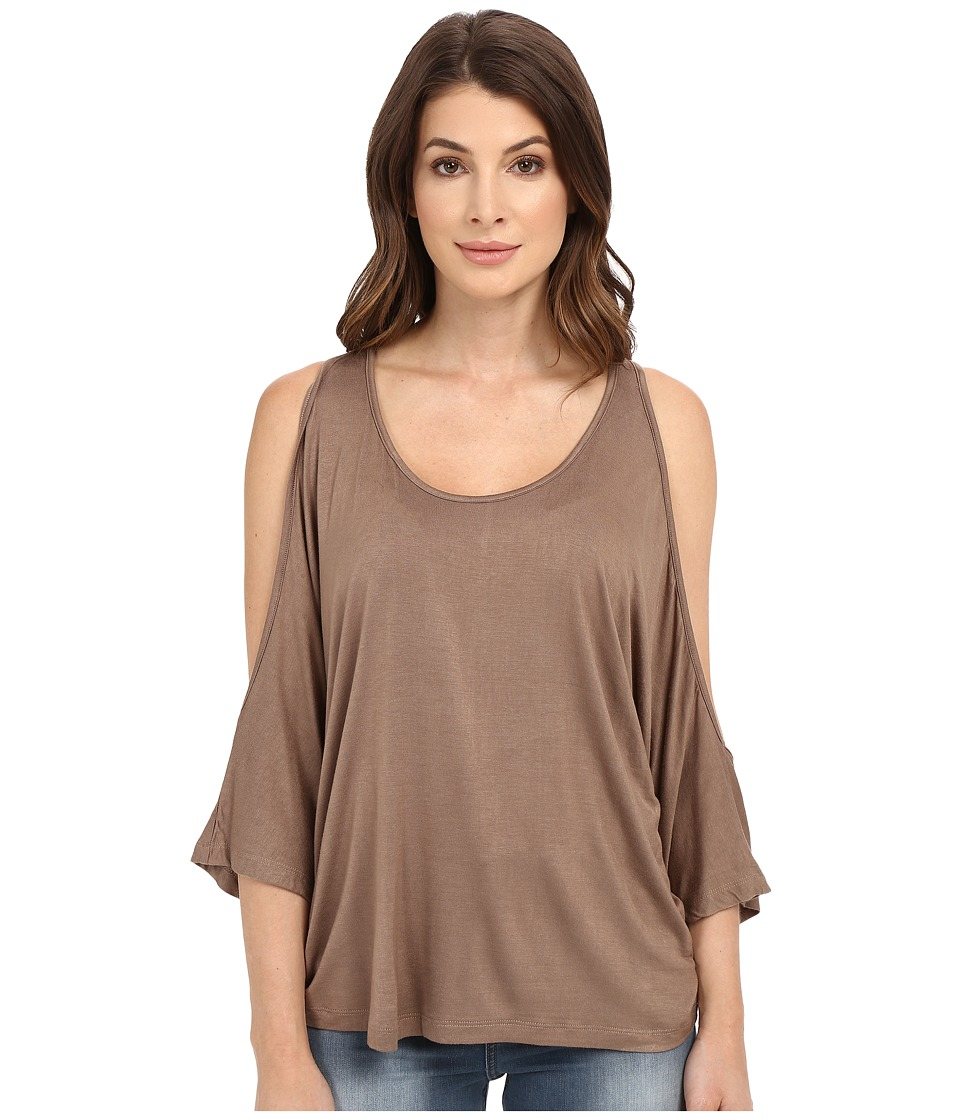Culture Phit - Evianna Cold Shoulder Top (Mocha) Women's Clothing