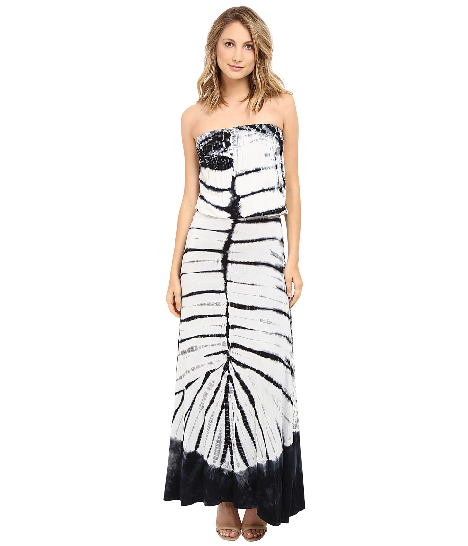 Culture Phit Erin Strapless Tie-Dye Maxi Dress (White/Black) Women