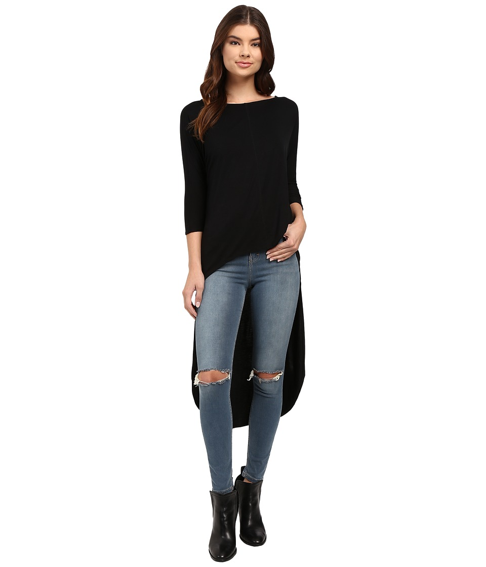 Culture Phit - Quintia High-Low Batwing Sleeve Top (Black) Women's Clothing