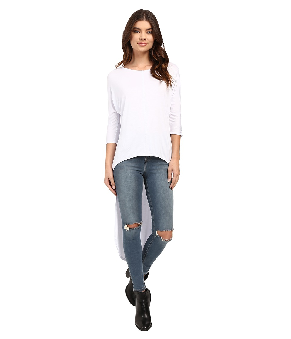 Culture Phit - Quintia High-Low Batwing Sleeve Top (White) Women's Clothing
