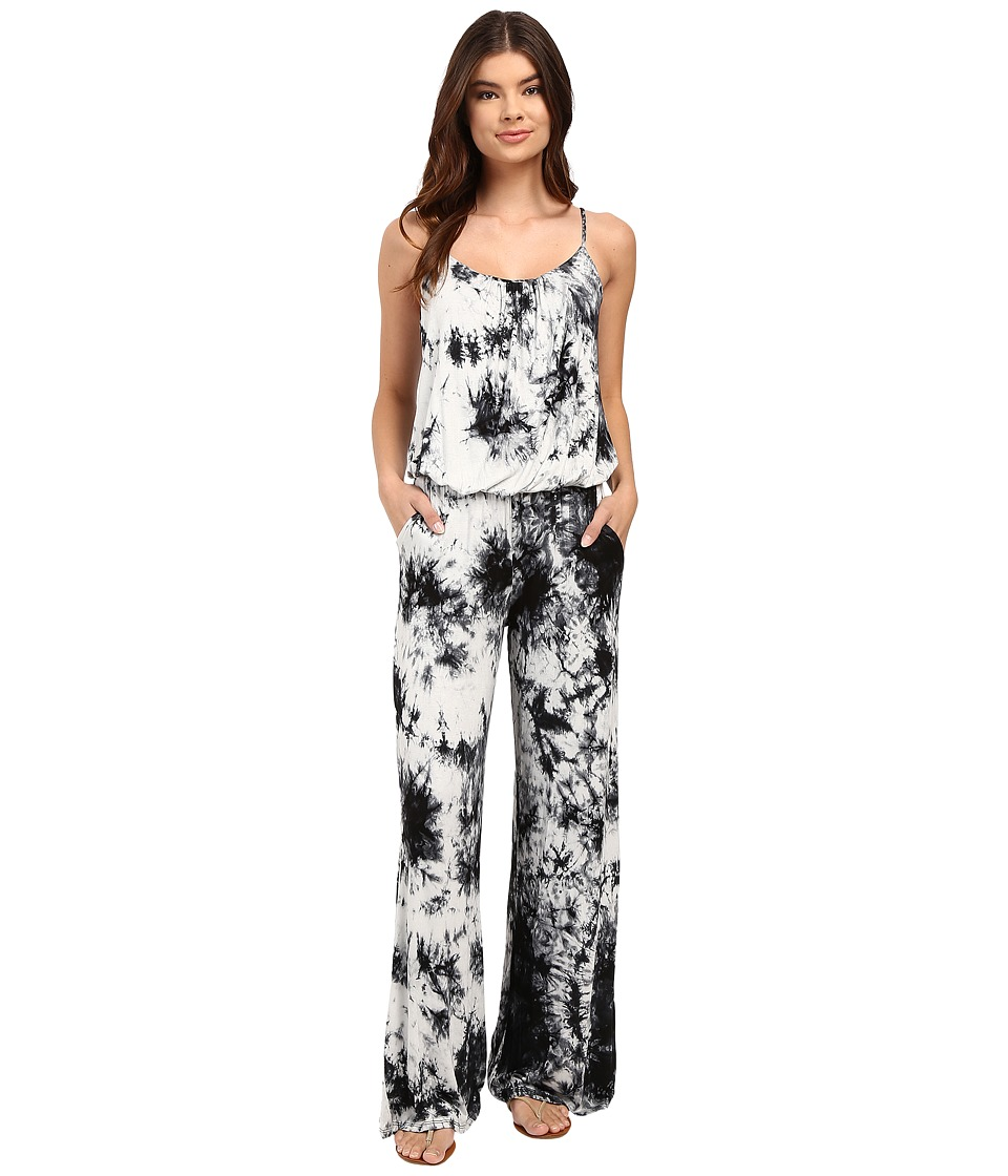 Culture Phit - Athalia Tie-Dye Spaghetti Strap Jumper (White/Black) Women's Jumpsuit & Rompers One Piece