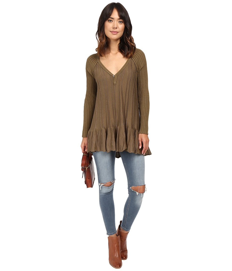 Free People - Ribs and Ruffles Sweater (Green Combo) Women's Sweater
