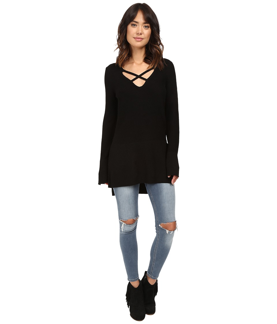 Free People - Crisscross Sweater (Black) Women's Sweater