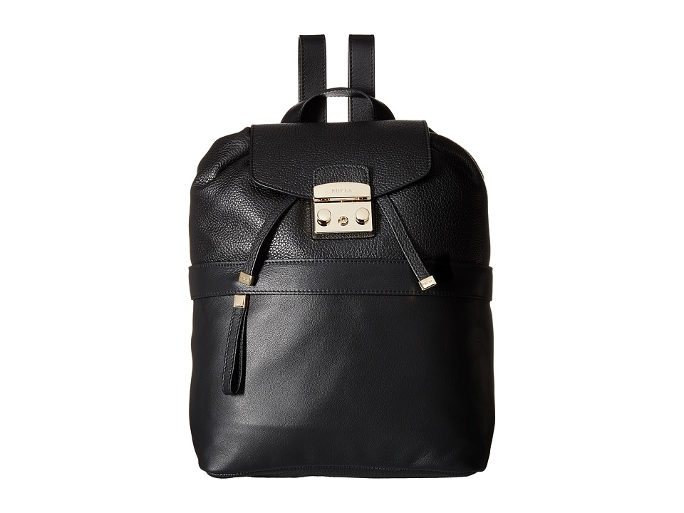 Furla - Lara Small Backpack (Onyx) Backpack Bags