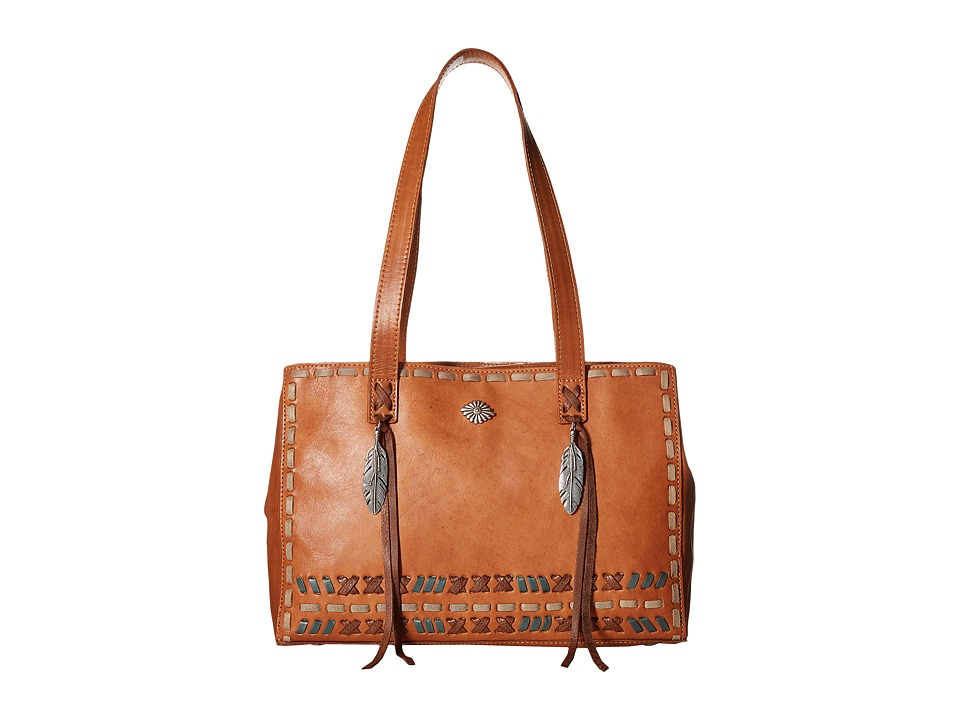 American West - Mohican Melody Shopper Tote (Golden Tan/Antique Brown) Tote Handbags