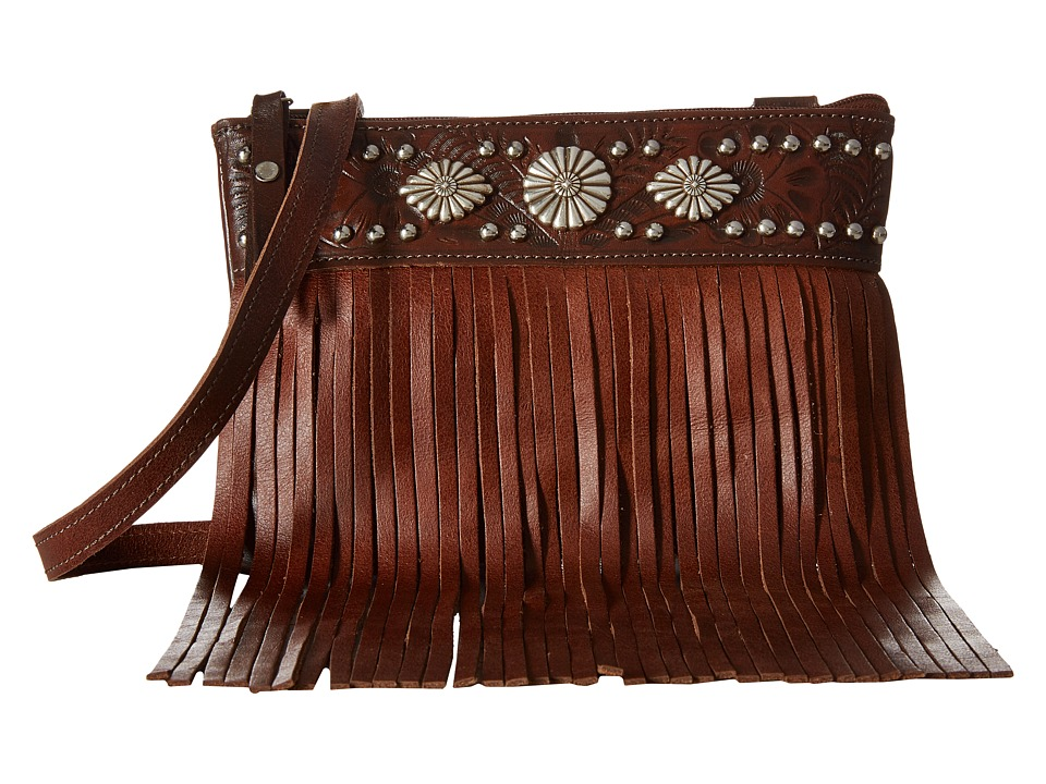 American West - Saratoga Fringe Crossbody (Chestnut Brown/Tobacco) Cross Body Handbags