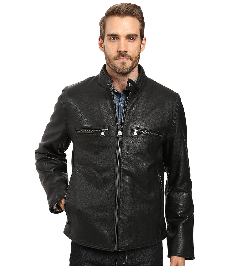 Marc New York by Andrew Marc - Bedford Calf Skin Moto (Black) Men's Coat