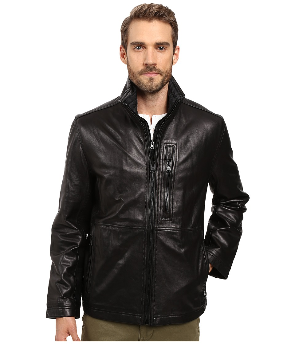 Marc New York by Andrew Marc - Salem Leather Jacket w/ Removable Quilted Bib (Black) Men's Coat