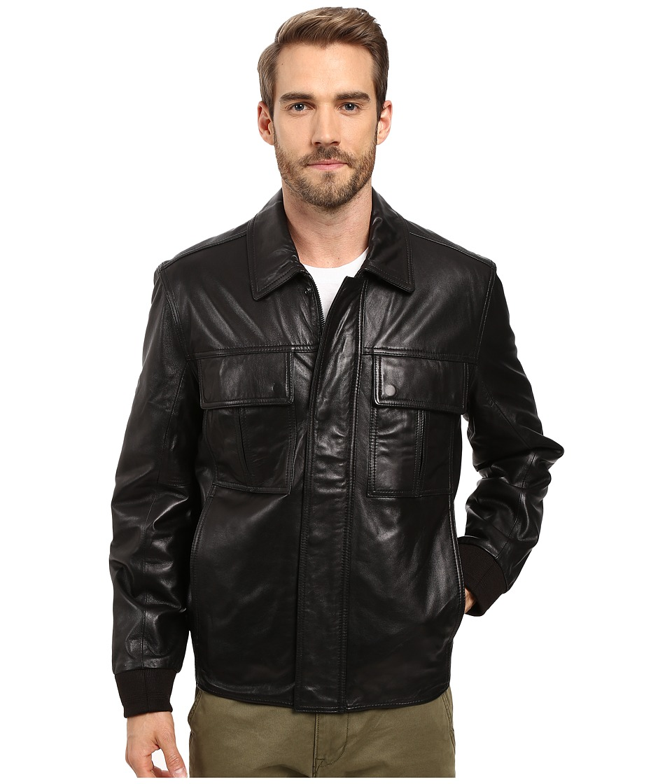 Marc New York by Andrew Marc - Andover Leather Bomber Jacket (Black) Men's Coat