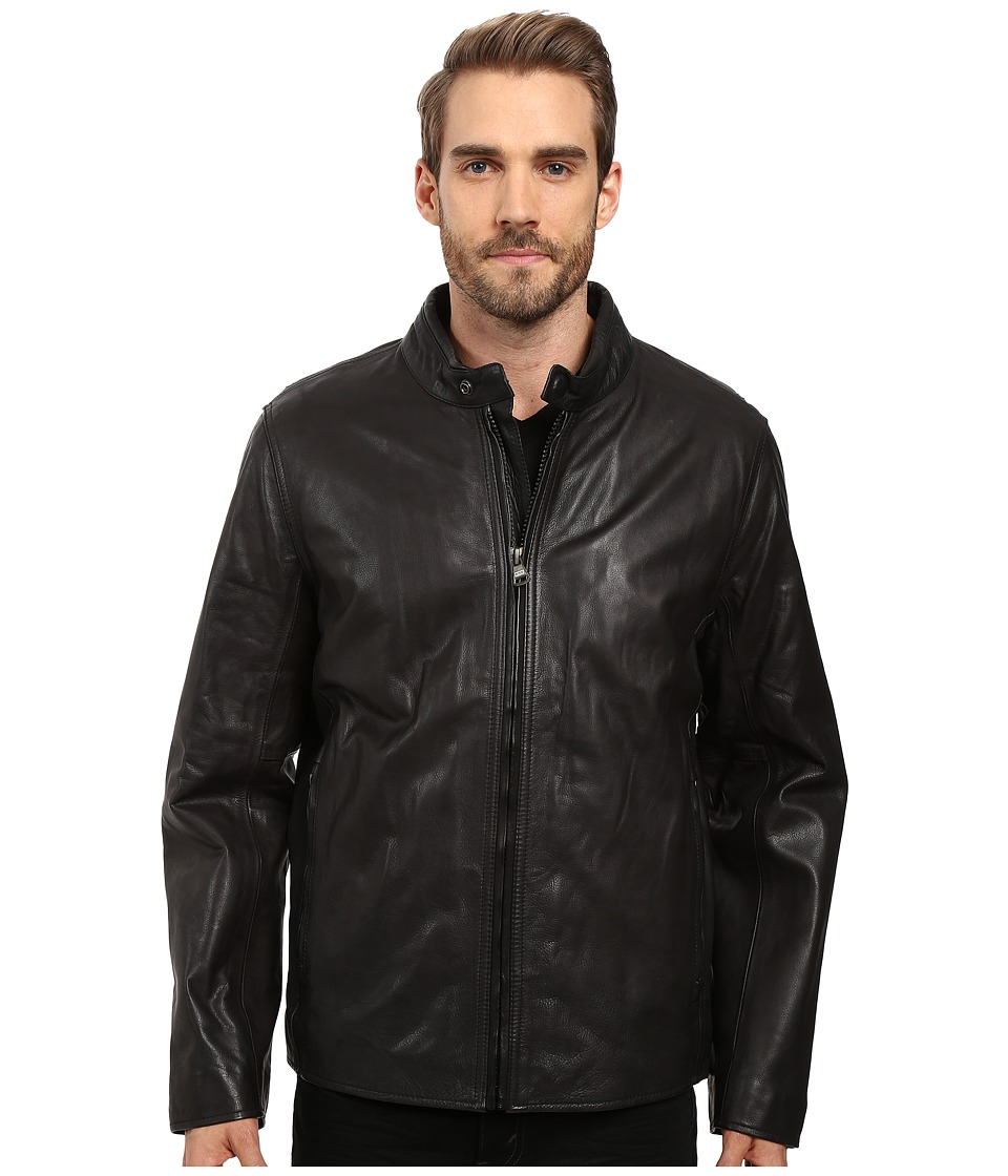 Marc New York by Andrew Marc - Rhinecliff Lightweight Calf Skin Moto (Black) Men's Coat