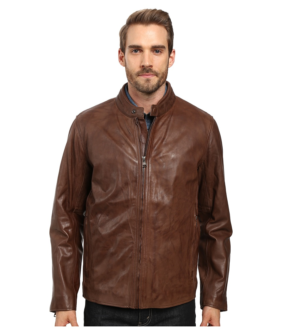 Marc New York by Andrew Marc - Rhinecliff Lightweight Calf Skin Moto (Mahogany) Men's Coat