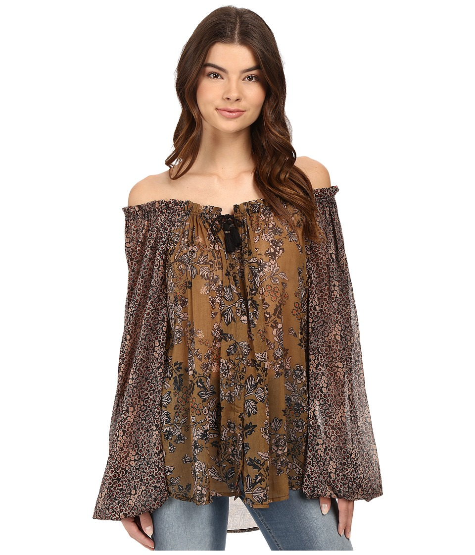 Free People - Hendrix Off the Shoulder Blouse (Black) Women's Blouse
