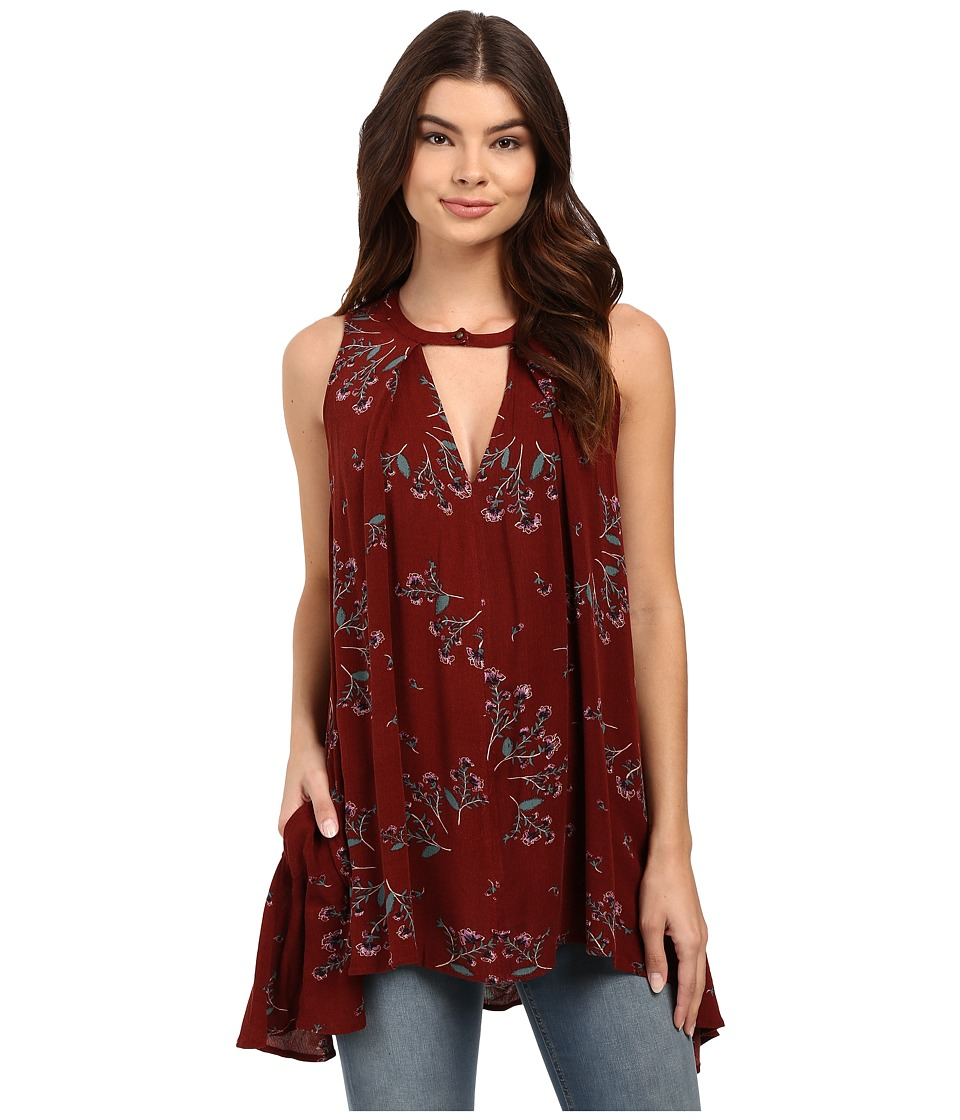 Free People - Sleeveless Tree Swing Tunic (Crimson) Women's Blouse