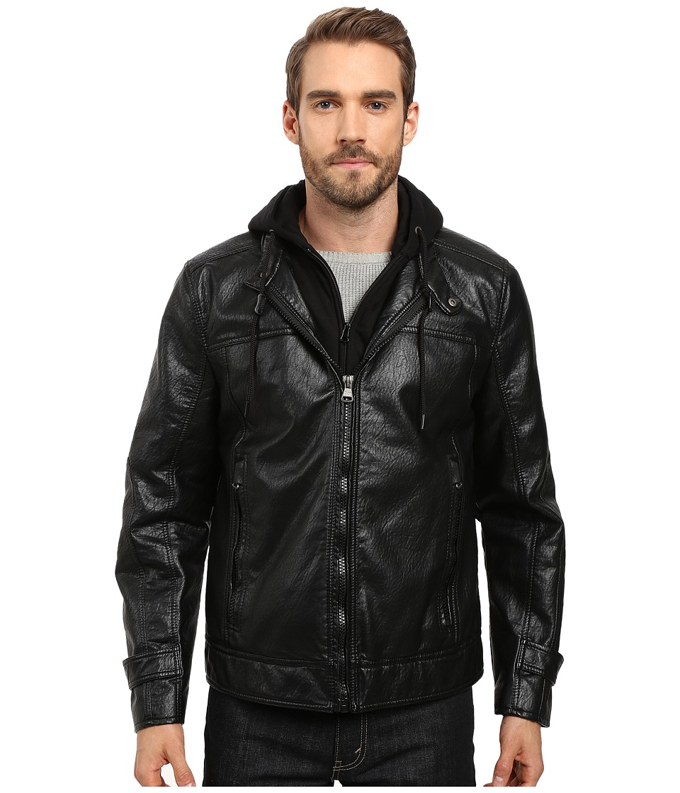 Marc New York by Andrew Marc - Newfane Distressed Faux Leather Moto Jacket with Removable Bib Hoodie (Black) Men's Coat