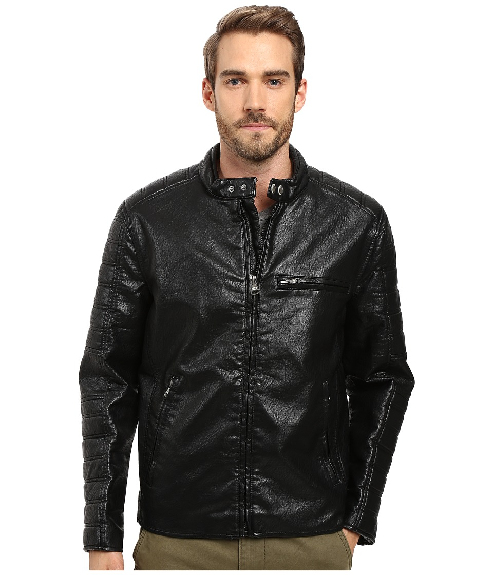 Marc New York by Andrew Marc - Watkins Distressed Faux Leather Moto Jacket with Quilted Sleeves (Black) Men's Coat