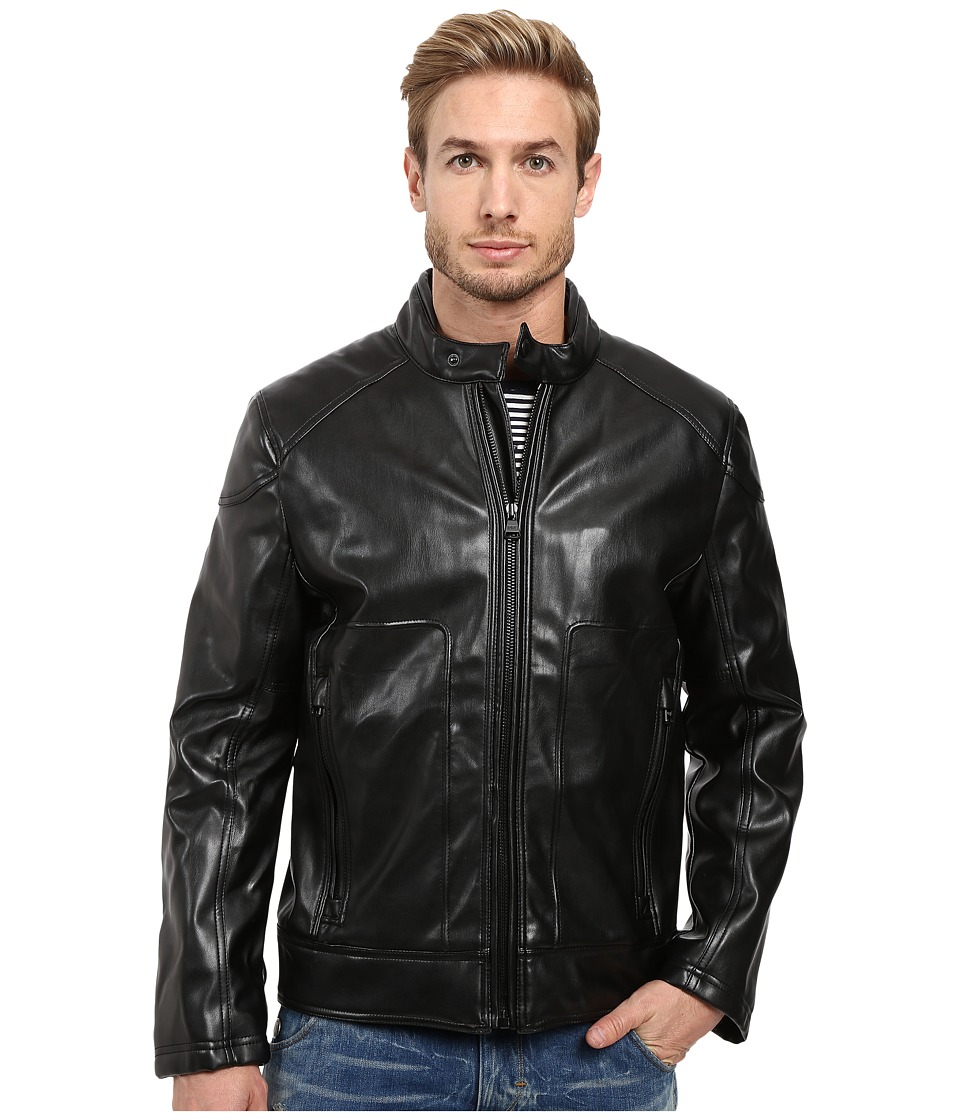 Marc New York by Andrew Marc - Sedgwick Faux Leather Moto Jacket (Black) Men's Coat
