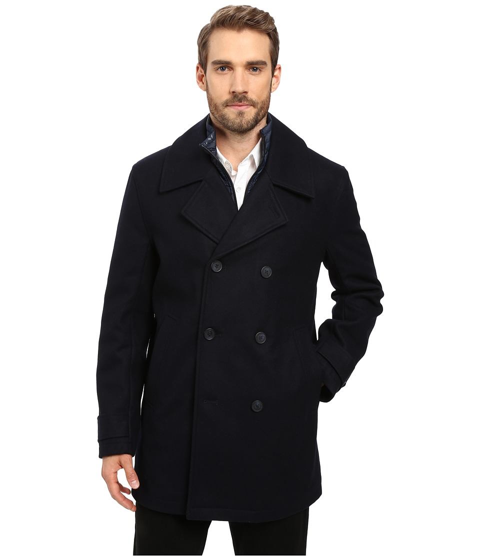 Marc New York by Andrew Marc - Cushing Pressed Wool Peacoat w/ Removable Quilted Bib (Ink) Men's Coat