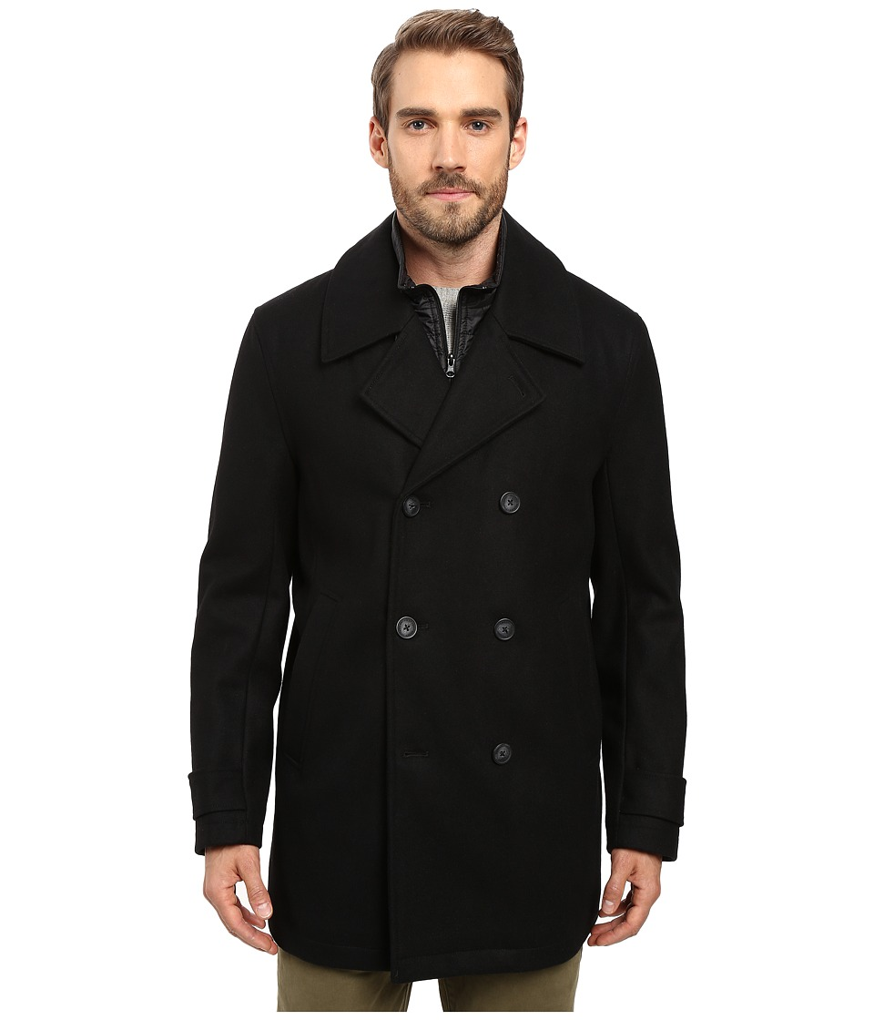 Marc New York by Andrew Marc - Cushing Pressed Wool Peacoat w/ Removable Quilted Bib (Black) Men's Coat