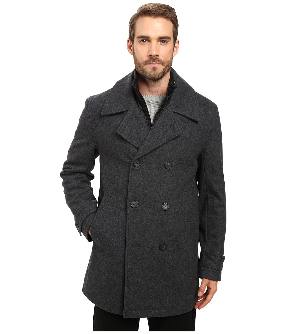 Marc New York by Andrew Marc - Cushing Pressed Wool Peacoat w/ Removable Quilted Bib (Charcoal) Men's Coat
