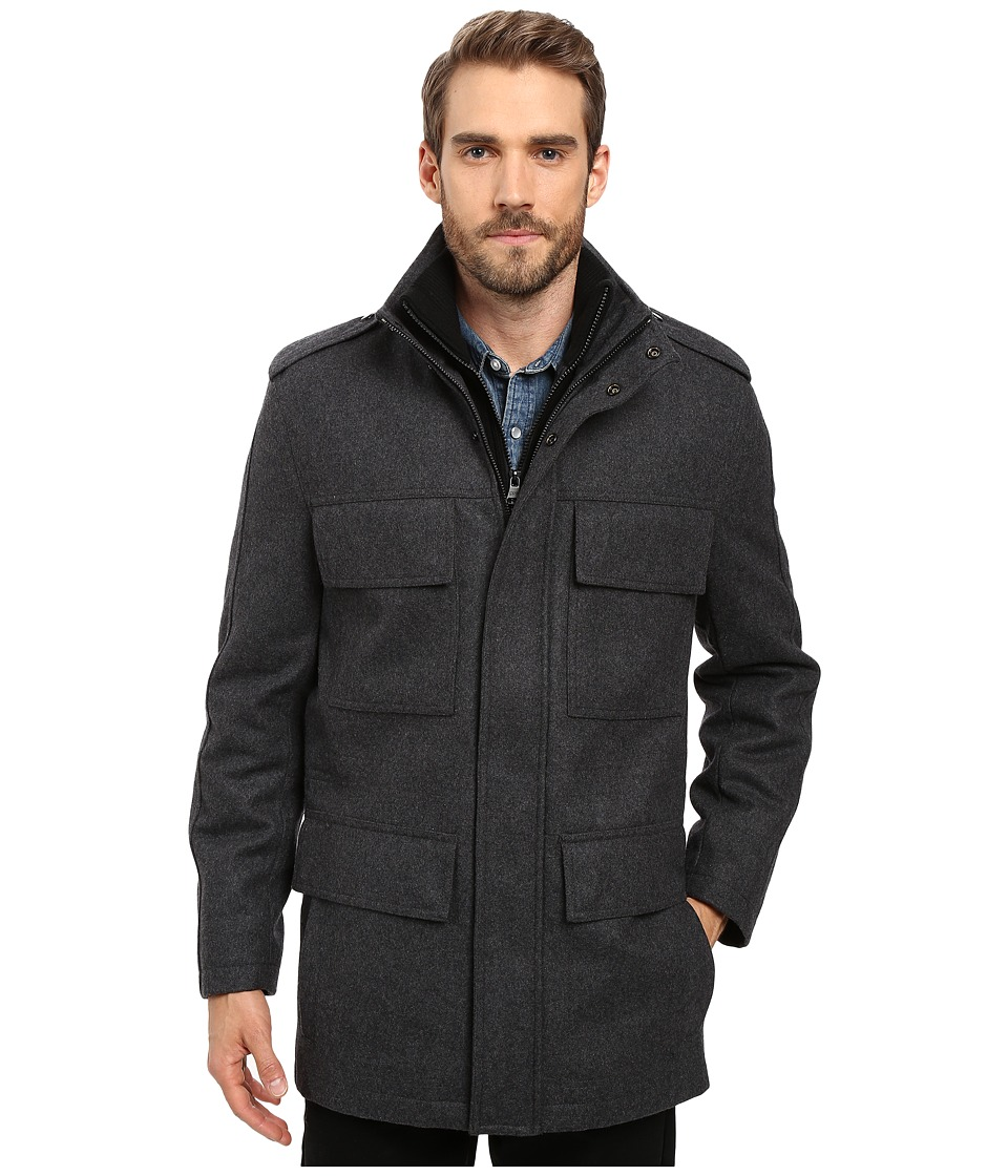 Marc New York by Andrew Marc - Litchfield Pressed Wool Field Jacket w/ Inset Knit Bib (Charcoal) Men's Coat