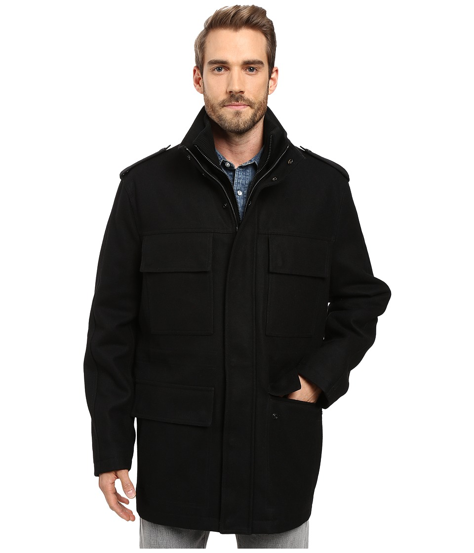 Marc New York by Andrew Marc - Litchfield Pressed Wool Field Jacket w/ Inset Knit Bib (Black) Men's Coat