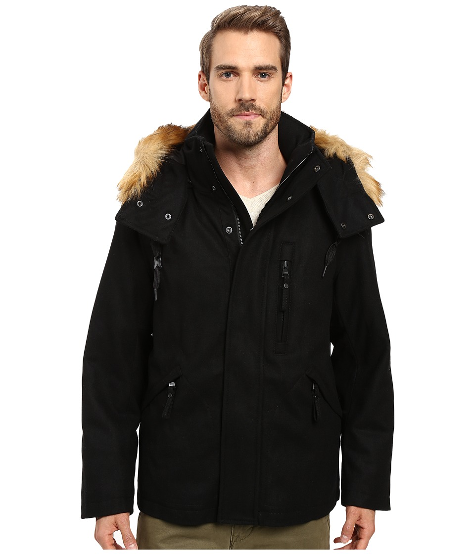 Marc New York by Andrew Marc - Fremont Pressed Wool Puffer Bomber w/ Removable Hood (Black) Men's Coat