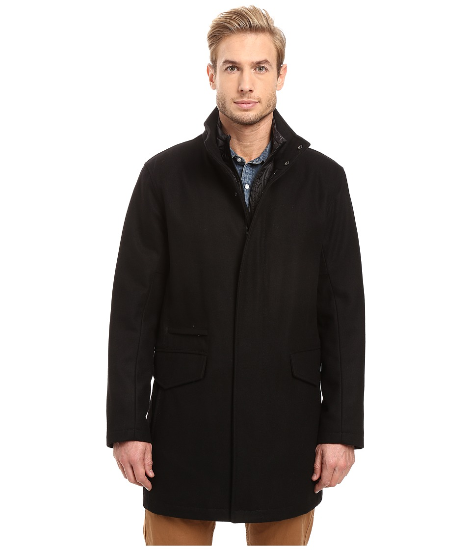 Marc New York by Andrew Marc - Stanford Pressed Wool Car Coat with Removable Quilted Bib (Black) Men's Coat