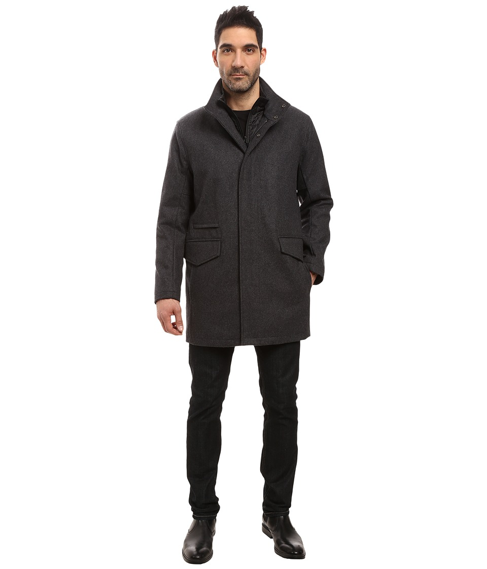 Marc New York by Andrew Marc - Stanford Pressed Wool Car Coat with Removable Quilted Bib (Charcoal) Men's Coat