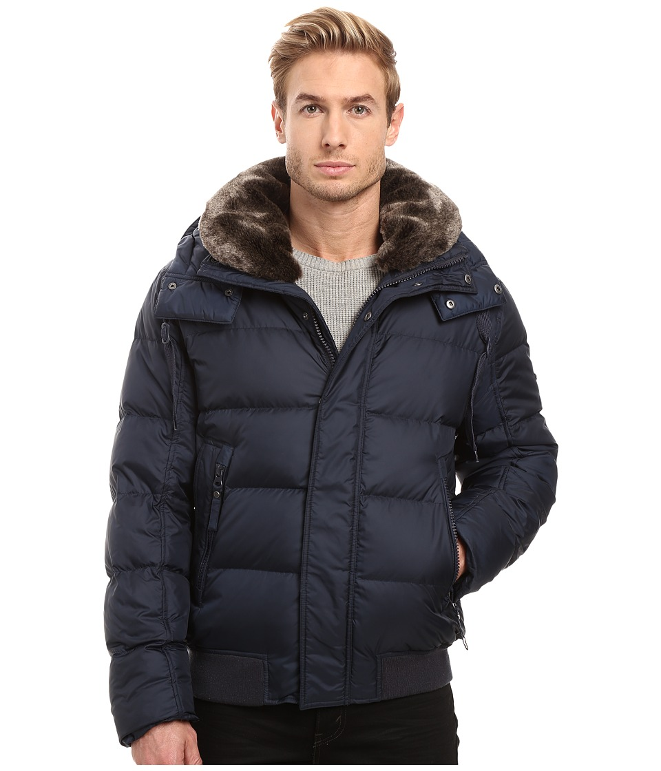 Marc New York by Andrew Marc - Rockingham Down Bomber w/ Removable Faux Fur Collar Hood (Ink) Men's Coat