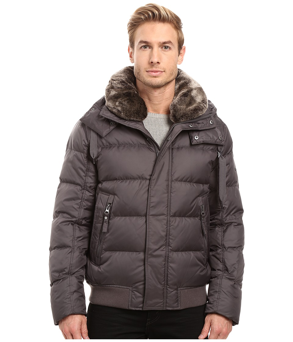 Marc New York by Andrew Marc - Rockingham Down Bomber w/ Removable Faux Fur Collar Hood (Fog) Men's Coat