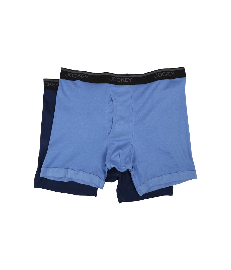 Jockey - Big Man Staycool Midway Brief 2-Pack (Light Blue/Navy Blue) Men's Underwear