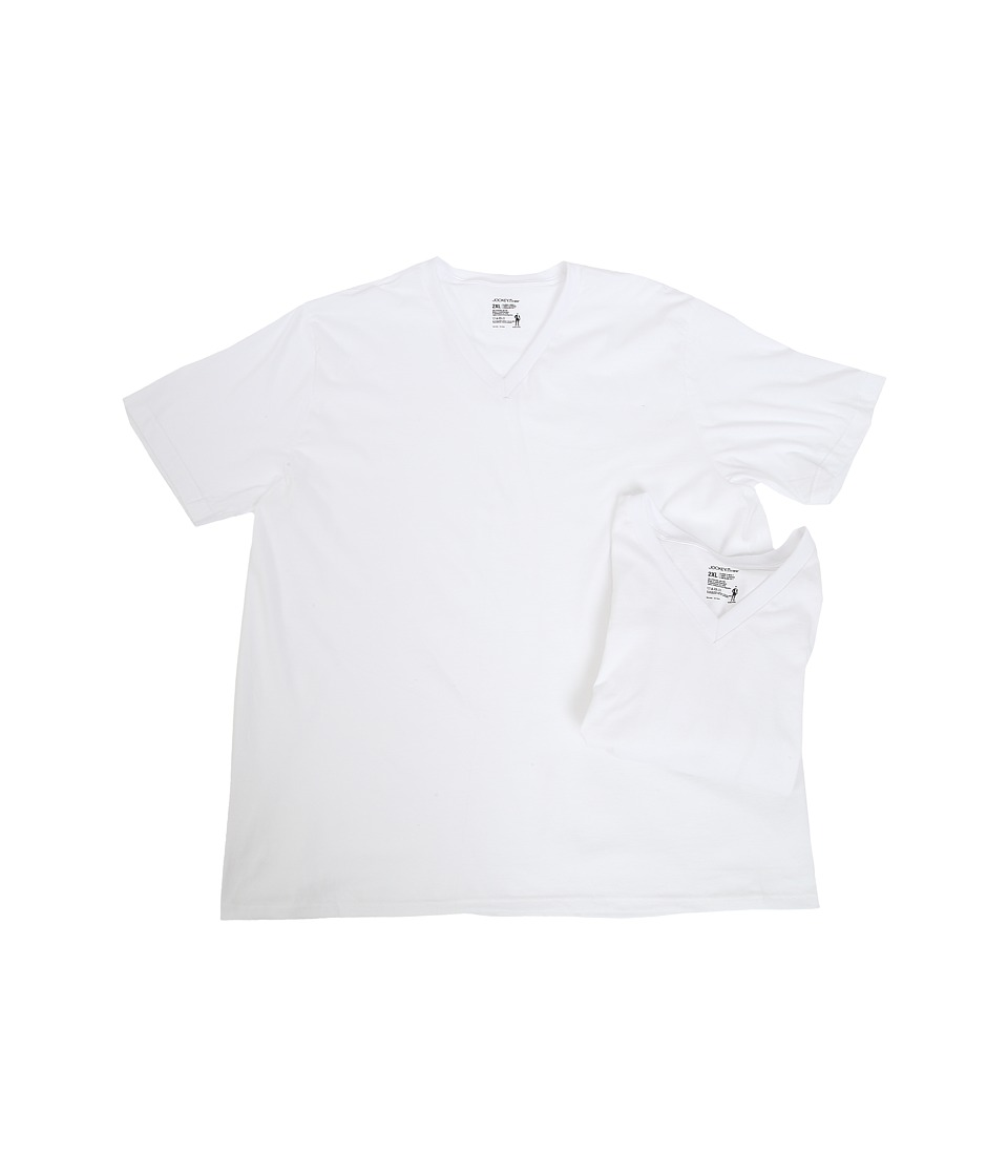 Jockey - Big Man Cotton V-Neck 2-Pack (White) Men's T Shirt