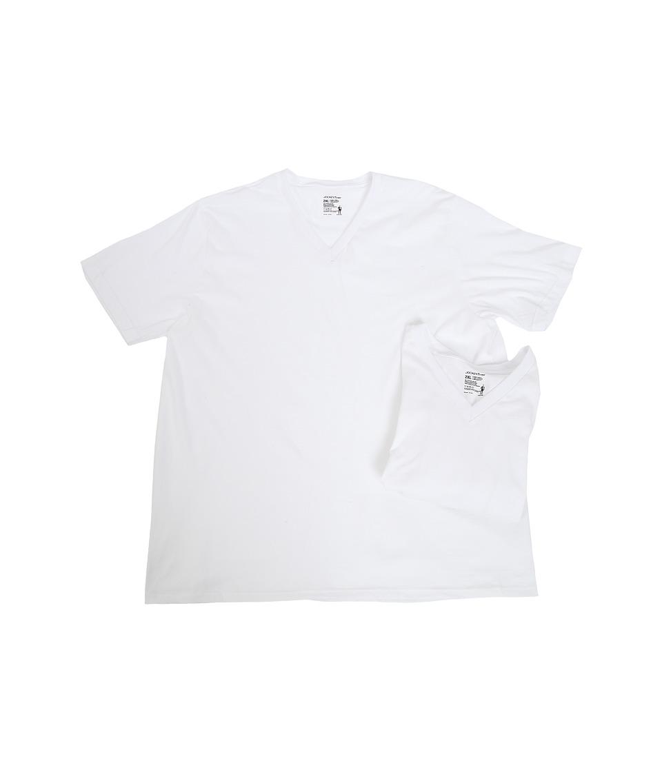 Jockey - Big Man Cotton V-Neck 2-Pack (White) Men's T Shirt