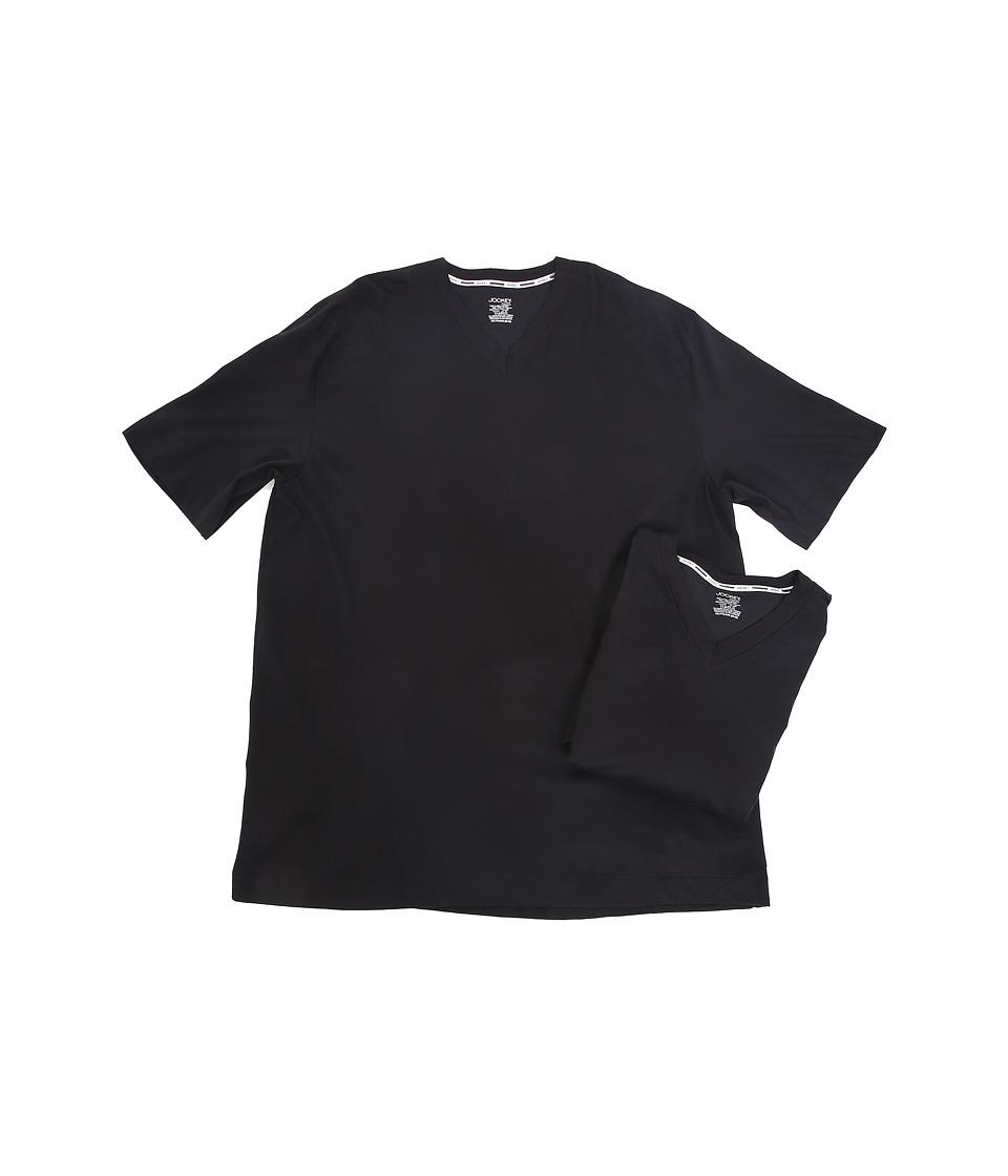 Jockey - Big Man Staycool Cotton Modern Fit V-Neck T-Shirt (Black) Men's T Shirt