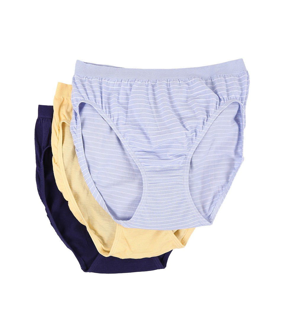 Jockey - Comfies Cotton French Cut 3-Pack (Pin Stripe Periwinkle/Yellow/Blue) Women's Underwear