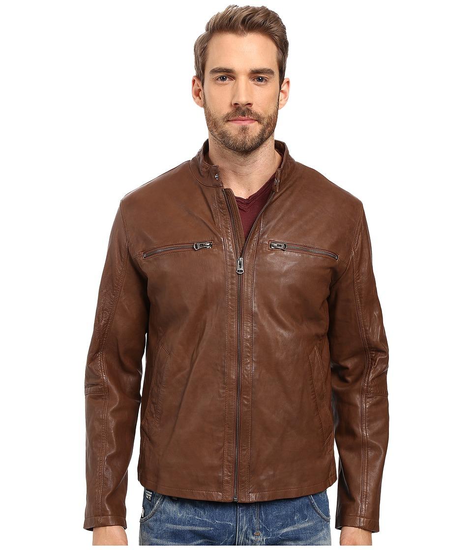Cole Haan - Washed Vintage Lamb Leather Moto (British Tan) Men's Coat