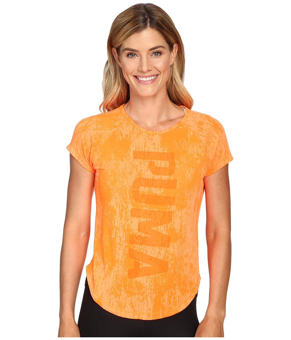 PUMA - Dancer Puma Burnout Tee (Shocking Orange Heather) Women's T Shirt