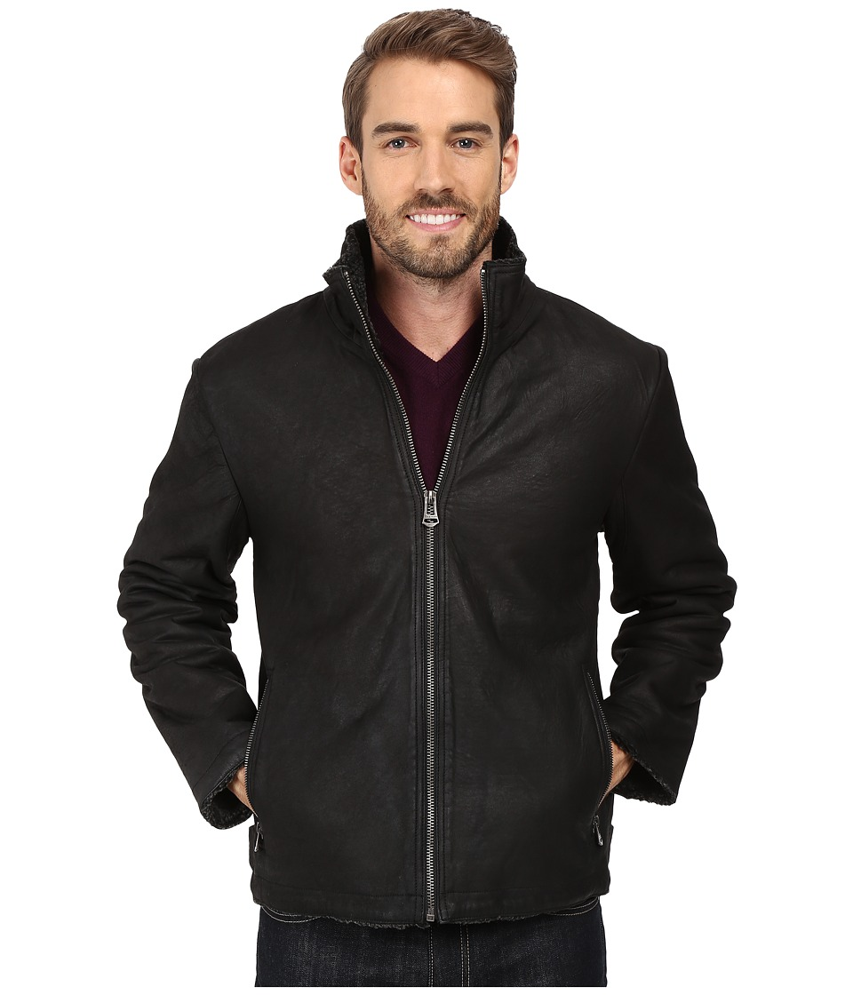 Cole Haan - Leather Jacket w/ Bonded Faux Shearling Lining (Black) Men's Coat