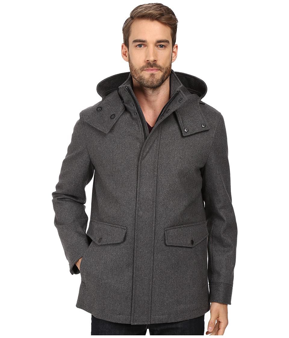 Cole Haan Waterproof Wool Duffle with Removable Hood (Iro...