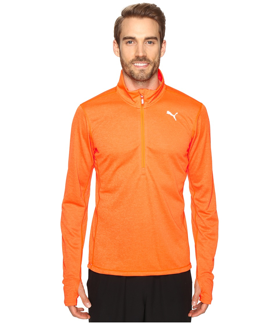 PUMA - PE Running Long Sleeve Half Zip Tee (Shocking Orange Heather) Men's T Shirt