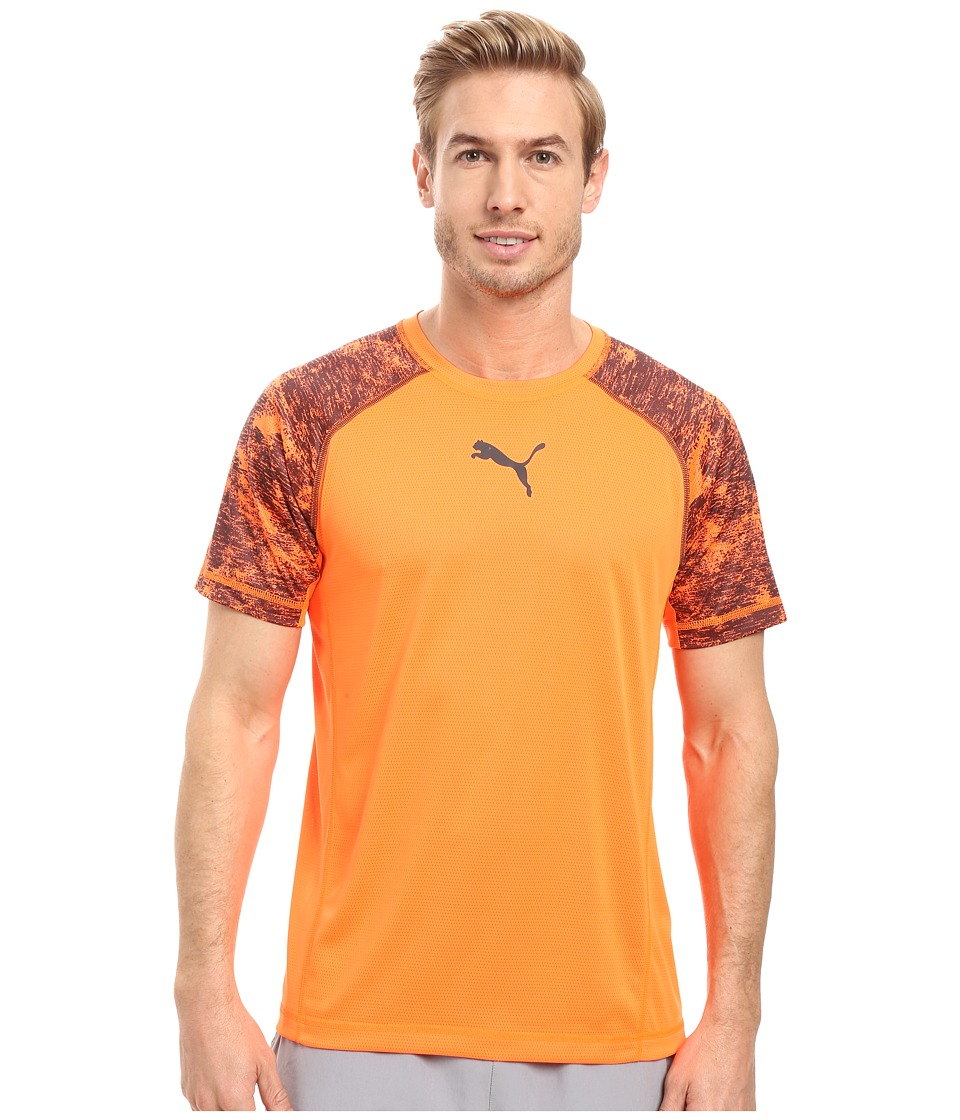 PUMA Vent Short Sleeve Tee (Shocking Orange/Asphalt) Men
