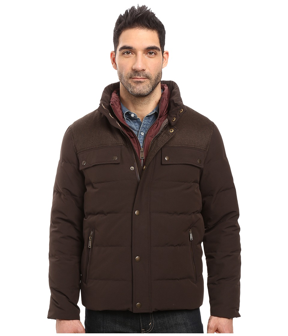 Cole Haan - Utility Down Quilted Military Jacket (Espresso) Men's Coat