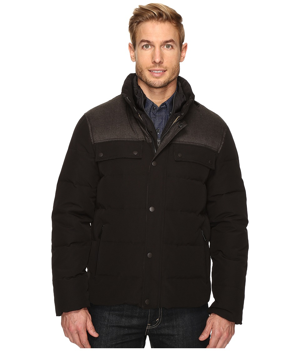 Cole Haan - Utility Down Quilted Military Jacket (Black) Men's Coat