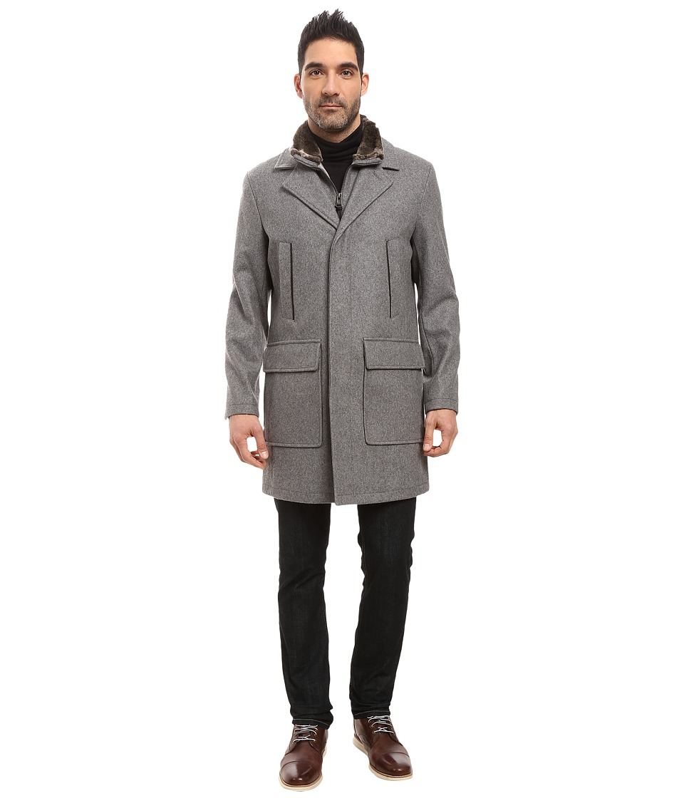 Cole Haan - Pressed Melton Wool Topper with Faux Fur Collar (Light Grey) Men's Coat