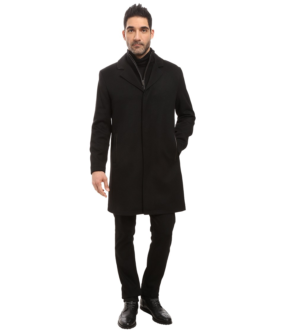 Cole Haan - Modern Wool Twill Topper (Black) Men's Coat