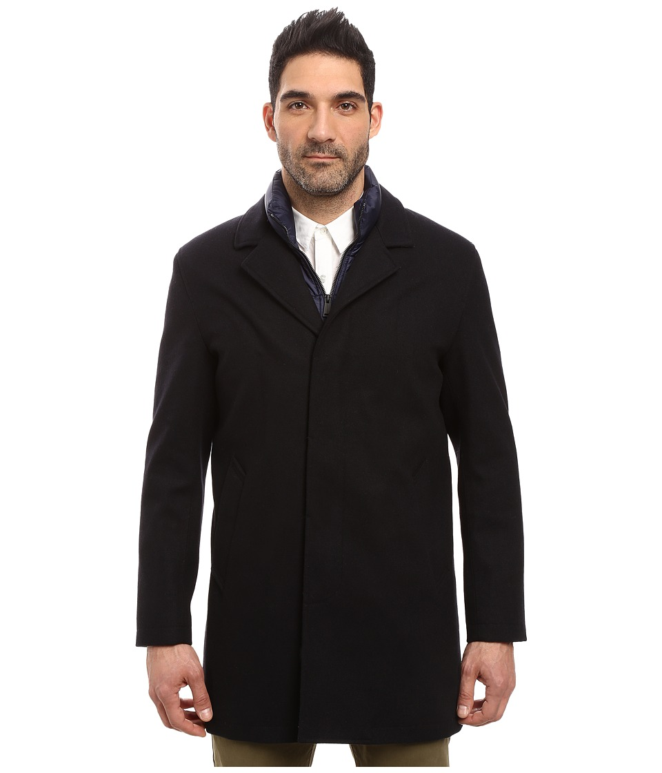Cole Haan - Waterproof Wool Topper with Quilted Bib (Navy Ink) Men's Coat