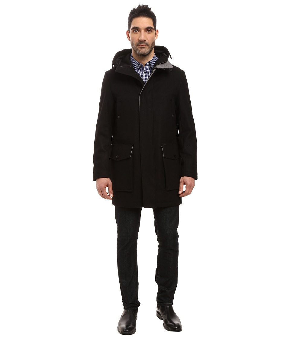 Cole Haan - Pressed Melton Wool Duffle (Black) Men's Coat