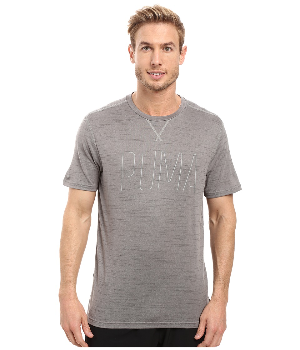 PUMA Nightcat Short Sleeve Tee (Medium Gray Heather/New Graphic) Men